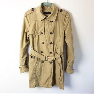 Zara Dark Tan Mid Length Classic Trench Coat
